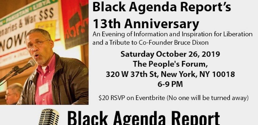 Black Agenda Report's 13th Anniversary: An Evening of Information and Inspiration for Liberation, and a Tribute to Co-Founder Bruce Dixon